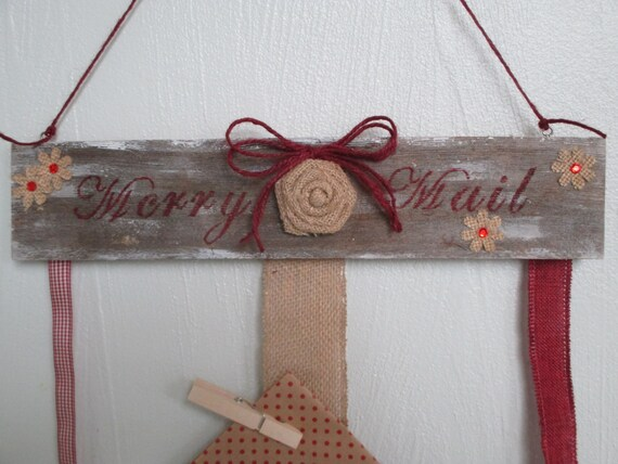Merry mail christmas card holder wall hanging holiday decor - Christmas card wall holder ...