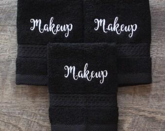 Black Makeup washcloth, black makeup towel, embroidered bath wash cloth, Black finger tip towel