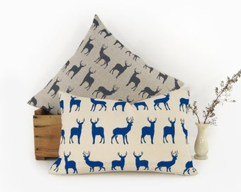 Personalized Graphic Stags Print Pillow Case, Cushion Cover | Your Ink Color, Fabric and 12x18 or 16x16 | Deer Decorative Pillow Cover