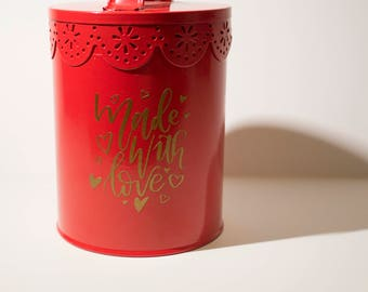 Valentine's Day Gift Container   Ready-to-ship   Canister   Valentine's Gift   Made With Love   Cookie Jar