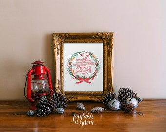 Christmas bible verse printable wall art print decor, christian scripture decoration holiday Luke 2:14 peace on earth INSTANT DOWNLOAD