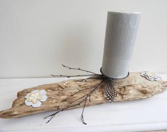 Shabby chic - style candlestick candle holder Driftwood - upcycling decor-gift idea