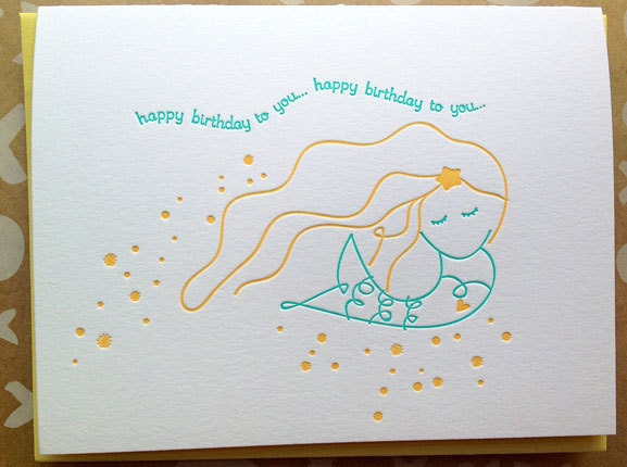 Mermaid greeting card letterpress birthday card for her zoom bookmarktalkfo Images