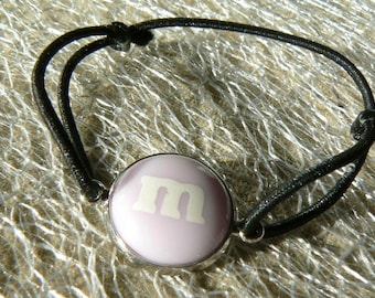 M bracelet & me s light purple elastic sliding knots black cabochon 14mm