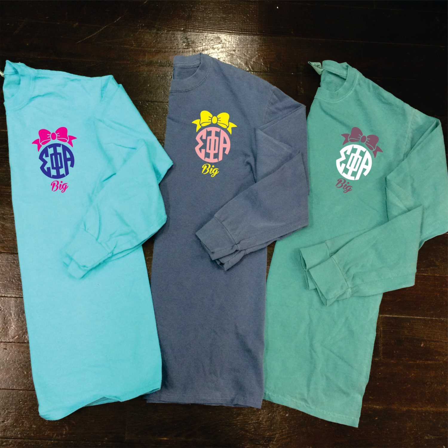 Big/Little/GBig Bow Sorority Monogram Comfort Colors Long