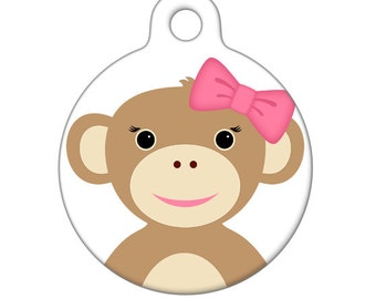 Pet ID Tag - Girl Monkey with Pink Bow Pet Tag, Dog Tag, Cat Tag, Luggage Tag, Child ID Tag