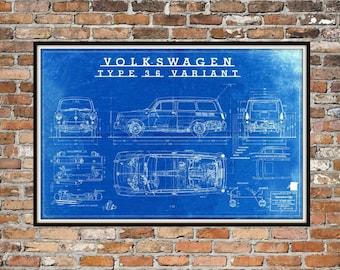Volkswagen Type 36 Variant - Vintage Volkswagen Wagon - Print Art Item Men's Art Gift 0191