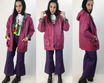 90's Pink Rain Coat Rainbow Plaid Lining Small - Vintage Misty Harbor Lined Slicker - PVC Womens Dusty Pink Warm VTG Rain Coat With Hood