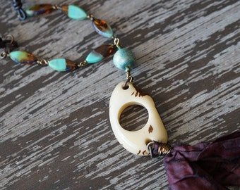 Unlisted - Boho Necklace - Woodland - Amber and Turquoise - Glass Beaded Necklace - Silk Tassel Necklace - Bead Soup Jewelry