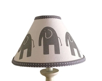 Grey White Elephant Lamp Shade Baby GenderNeutral  Grey Polka Dot Elephant  Lampshade Nursery