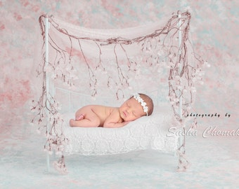 digital backdrop background  newborn baby girl bed pink blossoms flowers