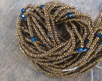 Brown colors waist beads with crystals, stranded on cotton thread, 42/44 inches, Fair Trade