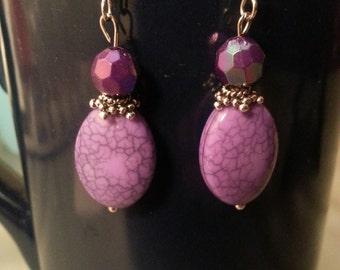 Purple Lentil Drop Earrings
