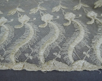 Vintage Antique Lace Lot Embroidered Cotton Tulle Remnants, Edwardian 1900s Vintage Dress Scraps