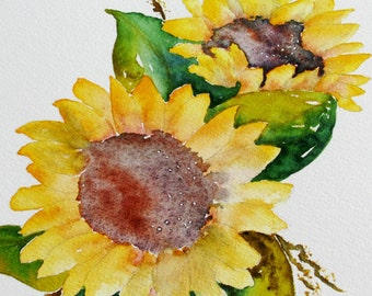 original sunflower watercolor painting, bright yellow sunflower painting, sunflower watercolor for home decor