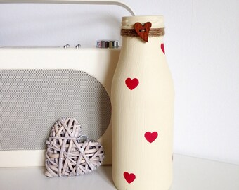 Personalised hand painted pint sized milk bottle