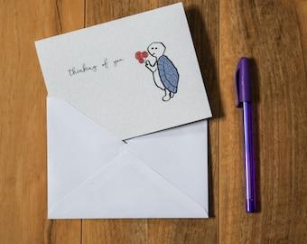 Thinking of You, Greeting card, Gerbera flowers, Flower card, Purple Turtle, Cute Animal, Get Well Gift Idea, Original Design, Cute Animal