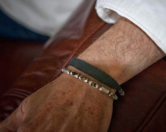 Mens leather Bracelet Cuff | The Mystic | Tiger Eye stones set in Sterling Silver settings with a black leather Sterling chain bracelet