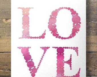 Watercolor Lovedots typography Printable wall art   Printable art   pink valentine wedding art print   Pink bedroom decor love romance
