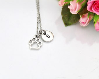 Paw Necklace, Silver Paw Charm, Dog Paw Charm, Cat Paw Charm, Pet Gift, Bear Paw Charm, Vet Gift, Personalized Gift, Best Friend Gift, N155