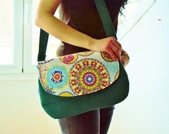 Rainbow bag, Rainbow clutch,green clutch,corduroy bag,Rainbow handbag,mandala tote,Mandala clutch,Mandala bag, kawaii bag,canvas clutch
