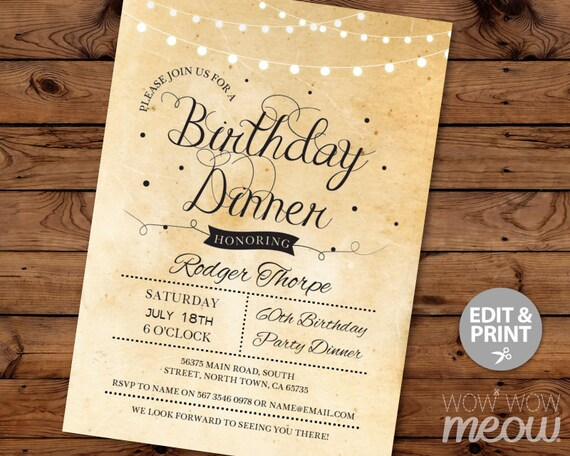 Elegant Birthday Dinner Party Invite Instant Download Cocktail