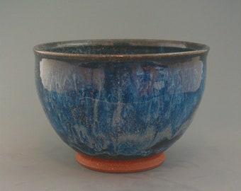Bowl, iron-rich stoneware w/ blue tenmoku glaze