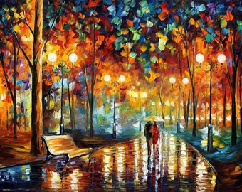 Abstract Art Landscape Oil Painting On Canvas By Leonid Afremov - Rain's Rustle 2