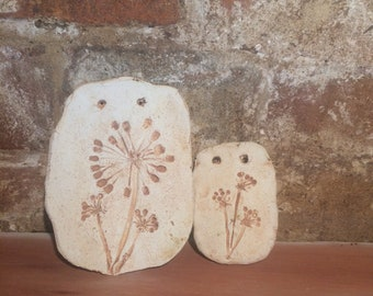 No 2 Handmade Stoneware Ceramic Tiles (set of two) with oxides and unglazed