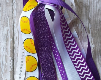 Purple and White Softball Ponytail Streamers,Softball Hair Bows,Softball Bows,White and Purple Softball Ponytail Streamers,Softball ponytail