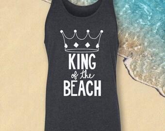 King of the Beach, Kids Tank Top, Boys Tank Top, Dark Gray Tanktop, Toddler Tanktop, Kid's Beach Tank, Beach Tanktop, Boy Summer Tank
