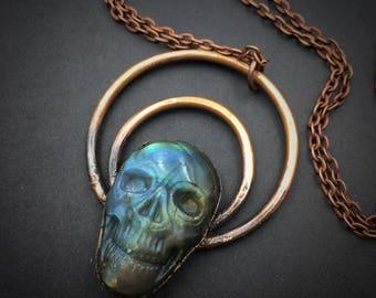 Labradorite Skull Pendant | Electroformed Labradorite | Carved Labradorite