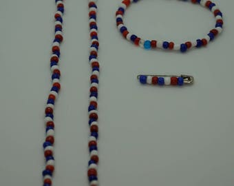 Patriotic Set - Necklace, Bracelet, Pin