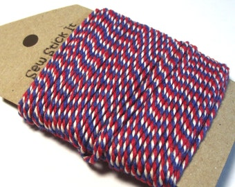 Red white and blue bakers twine. Airmail string. UK USA theme. 10 metres