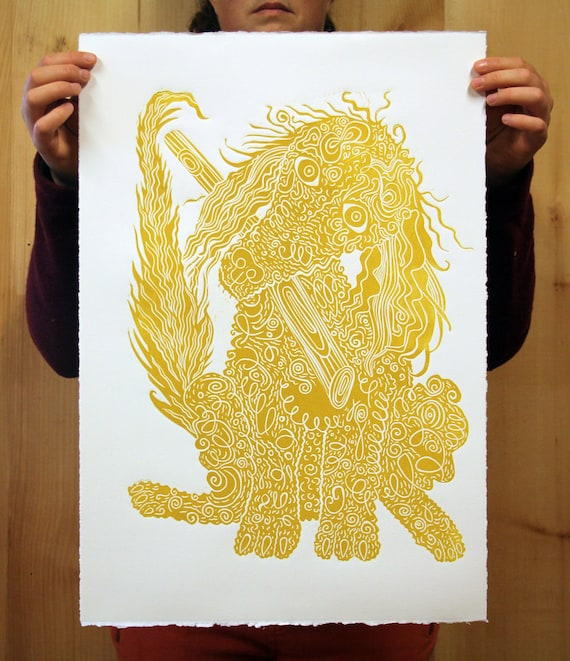 Poodle gold ink Dog art woodcut print block print