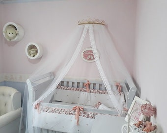 Canopy with Pearls + Mosquito Net with Guipir Lace