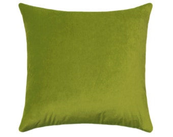 Chartreuse Velvet STUFFED Pillow, Lime Toss Pillow, Solid Chartreuse Accent Pillow, Green Throw Pillow, Chartreuse Velvet Cushion Free Ship