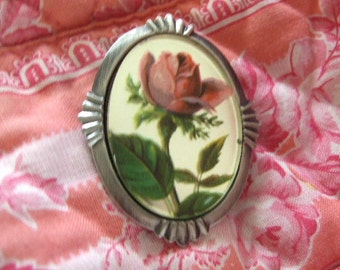 East german glass Vintage Rose on glass brooch