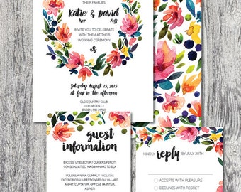 Wedding invitation custom printable watercolor floral wreath DIGITAL FILE