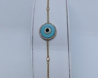 "14k Yellow Gold Diamond and Man-MadeTurquoise Evil Eye Bracelet ""Final Sale"""