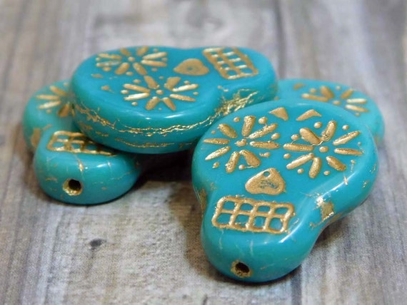 Turquoise with Gold Czech glass Sugar Skull Beads 20mm x 17mm 4 beads