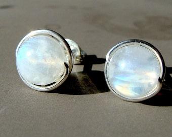 Moonstone Studs 7-7.5mm Rainbow Moonstone Stud Earrings in Sterling Silver Post Earrings Moonstone Studs Birthstone Earrings