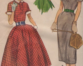 Bust 30-1950's Teen Age Dress With Detachable Collar and Cuffs Simplicity 4441 Size 12