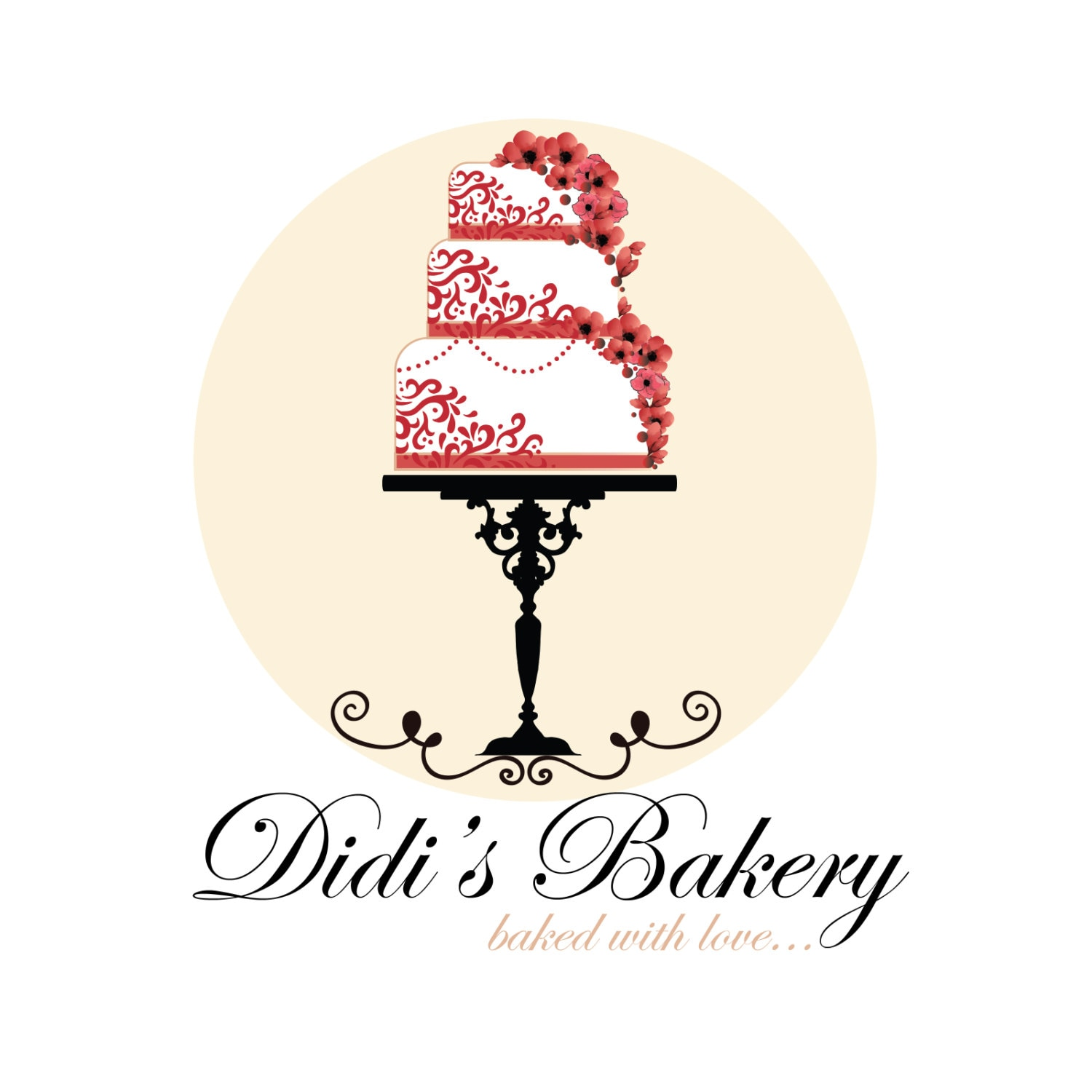 custom logo design premade bakery logo red flowers cake logo