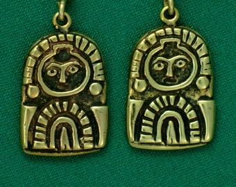 Columbia River Gorge, Sunburst Petroglyph- Bronze- Earrings