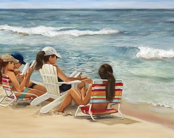 The Book Club - Girls sitting on the Beach reading a book -