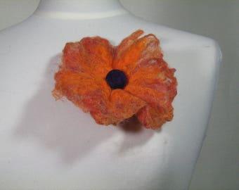 Textile flower brooch made of wool felt