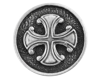 2 Maltese Cross 15/16 inch ( 24 mm ) Pewter Metal Buttons Antique Silver Color