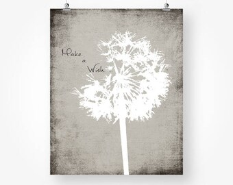 dandelion print neutral colors, grey wall decor, make a wish, dandelion instant download, black and white art jpg, dandelion quote poster