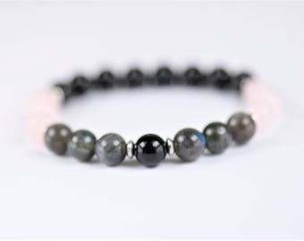 Labradorite, Black Agate & Rose Quartz 100% Natural Stone Healing Stretch Bracelet ~ ONENESS